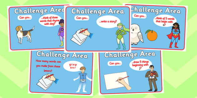 Challenge Area Pack Literacy Challenges - Challenge, gifted and talented, Area Signs, challenges, challenge resources, Banner, Foundation Stage Area Signs, Classroom labels, Area labels, Area Signs, Classroom Areas, Poster, Display, Areas