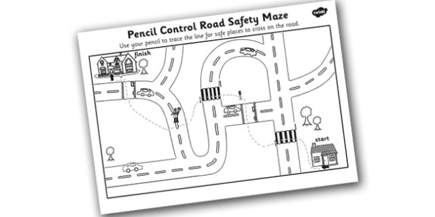 Safe Road Crossing Pencil Control Worksheet - safe road, pencil control, pencil control worksheet, road safety pencil control, pencil control sheets