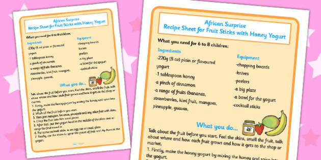 Fruit Sticks with Yoghurt Recipe Sheet to Support Teaching on Handa's Surprise - sheets