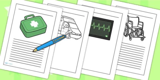 Ambulance Service Writing Frames - ambulance, writing, frames