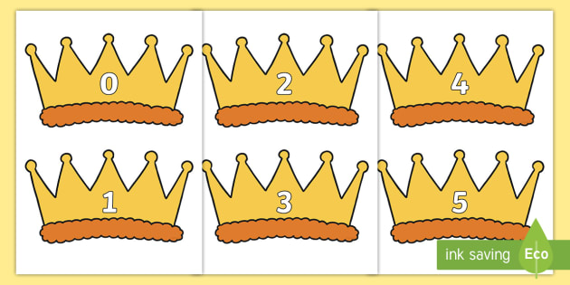 Numbers 0-30 on Crowns - Crown, Foundation Numeracy, Number recognition, Number flashcards, 0-30, A4, display numbers, crowns, king, queen