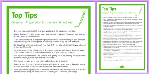 Classroom Preparation for the New School Year Top Tips