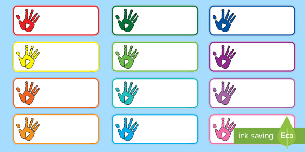 Handprint Drawer Peg Name Labels-handprint, drawer peg name labels, name tags, drawer labels, themed labels, themed name pegs, class management
