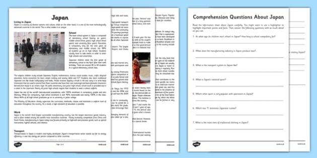 Comprehension Activity about Japan - comprehension, activity, japan