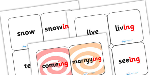 Suffix Matching Cards ing - suffixes, suffix, suffix matching cards, prefixes and suffixes, suffix ing, suffix game, suffix activity, words ending in ing