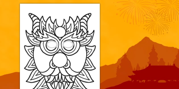 Chinese Dragon Mask Design Sheet - chinese new year, chinese dragon, mask, design