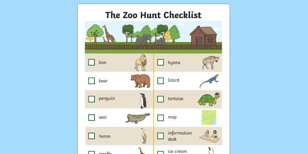 The Zoo Hunt Checklist - zoo, hunt checklist, check, list, hunt