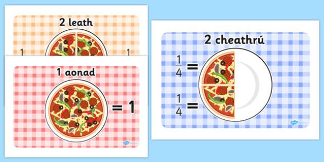 Pizza Fractions Gaeilge - gaeilge, irish, pizza, fractions, display, posters