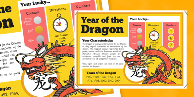 Chinese New Year of the Dragon Display Poster - chinese new year, display poster, information, year of the dragon
