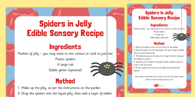 Spiders in Jelly Edible Sensory Recipe - spiders, jelly, edible, sensory recipe, recipe