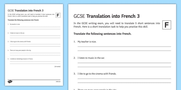 GCSE French: Translation into French - Foundation Tier Activity Sheet 3-French, worksheet