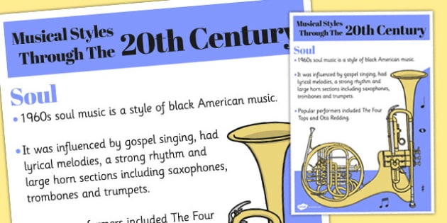 Musical Styles Through the 20th Century: Soul Information Poster
