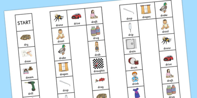 DR Board Game -speech sounds, phonology, articulation, speech therapy, cluster reduction, clusters, blends
