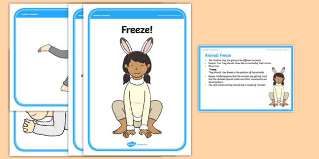 Foundaton PE (Reception) Animal Freeze Cool-Down Activity Card - physical activity, foundation stage, physical development, games, dance, gymnastics