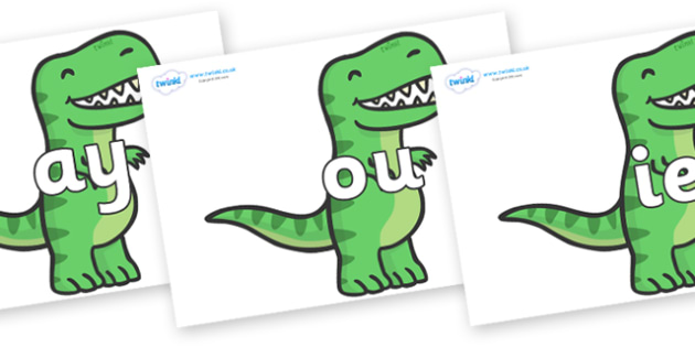 Phase 5 Phonemes on T Rex Dinosaurs - Phonemes, phoneme, Phase 5, Phase five, Foundation, Literacy, Letters and Sounds, DfES, display