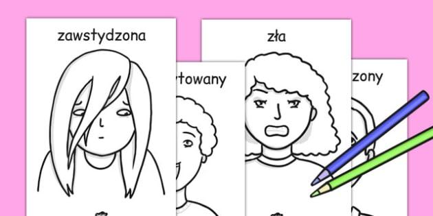 Kolorowanka A4 Moje uczucia po polsku - najmłodsi, Polish