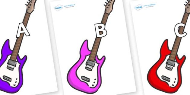 A-Z Alphabet on Guitars - A-Z, A4, display, Alphabet frieze, Display letters, Letter posters, A-Z letters, Alphabet flashcards