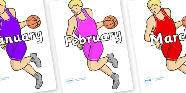 Months of the Year on Basketball Players - Months of the Year, Months poster, Months display, display, poster, frieze, Months, month, January, February, March, April, May, June, July, August, September