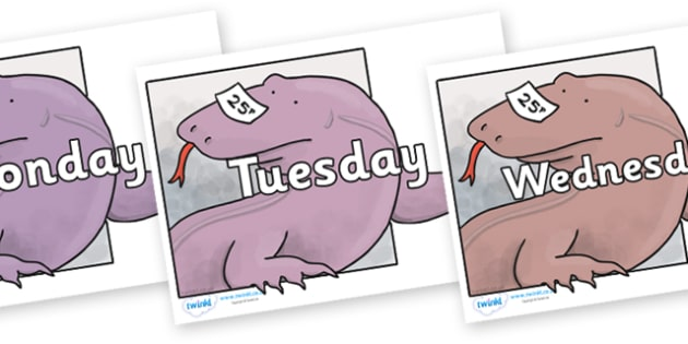 Days of the Week on Komodo Dragon to Support Teaching on The Great Pet Sale - Days of the Week, Weeks poster, week, display, poster, frieze, Days, Day, Monday, Tuesday, Wednesday, Thursday, Friday, Saturday, Sunday