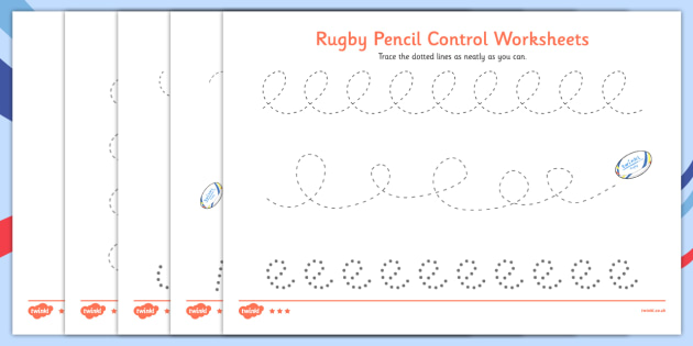 Rugby Pencil Control Worksheets - rugby, pencil, control, worksheet