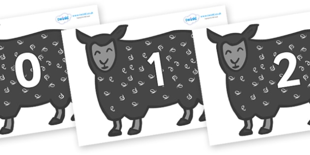 Numbers 0-100 on Black Sheep to Support Teaching on Brown Bear, Brown Bear - 0-100, foundation stage numeracy, Number recognition, Number flashcards, counting, number frieze, Display numbers, number posters