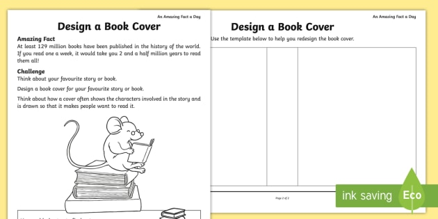 Book Cover Design Worksheet : Design a book cover activity sheet amazing fact of the day
