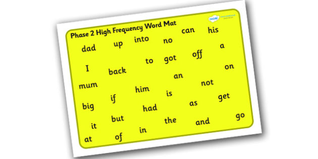 Phase 2 High Frequency Word Mat for Visually Impaired -  phase 2, high, frequency, word, mat, visually, impaired, high frequency, visually impaired
