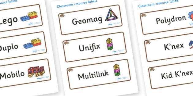 Hedgehog Themed Editable Construction Area Resource Labels - Themed Construction resource labels, Label template, Resource Label, Name Labels, Editable Labels, Drawer Labels, KS1 Labels, Foundation Labels, Foundation Stage Labels