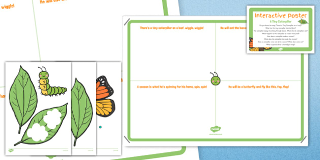 A Tiny Caterpillar EYFS Interactive Poster and Resource Pack - butterfly, life cycle, egg, caterpillar, cocoon, chrysalis, spring, growth, growing