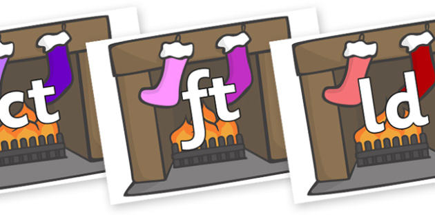 Final Letter Blends on Stockings & Fireplace - Final Letters, final letter, letter blend, letter blends, consonant, consonants, digraph, trigraph, literacy, alphabet, letters, foundation stage literacy