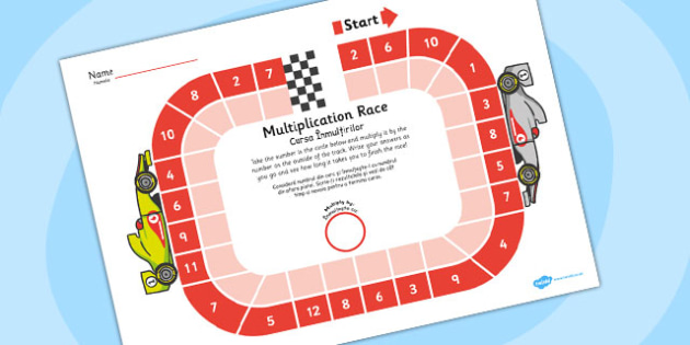 Multiplication Race Worksheet Romanian Translation - romanian