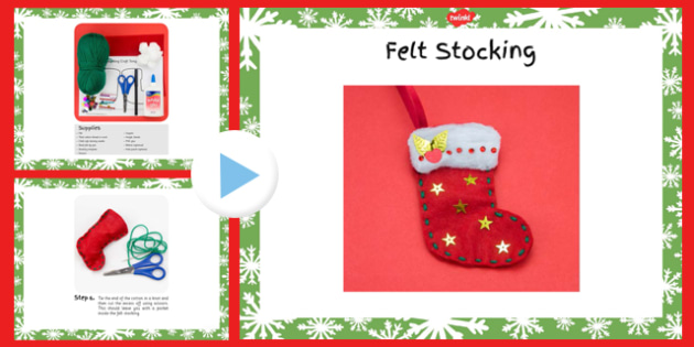 Felt Stocking Christmas Craft Instructions PowerPoint - felt stocking, christmas, craft, instructions