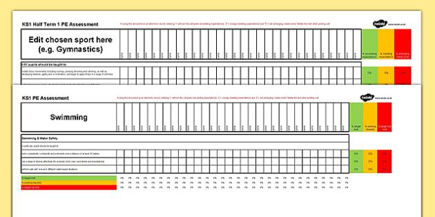 Key Stage 1 PE Assessment Spreadsheet - ks1, key stage 1, pe, assessment, spreadsheet, physical education