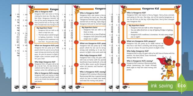 Kangaroo Kid: A Superhero Differentiated Reading Comprehension Activity - Superheroes, Super, Kangaroo kid, hero, save, villain, powers, sidekick, reading, facts, information