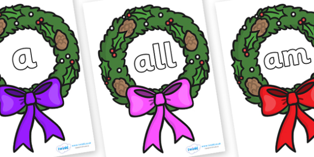 Foundation Stage 2 Keywords on Christmas Wreaths - FS2, CLL, keywords, Communication language and literacy,  Display, Key words, high frequency words, foundation stage literacy, DfES Letters and Sounds, Letters and Sounds, spelling