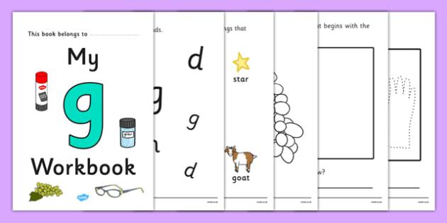 My Workbook g lowercase - workbook, g sound, lowercase, letters, alphabet, activity, handwriting, writing