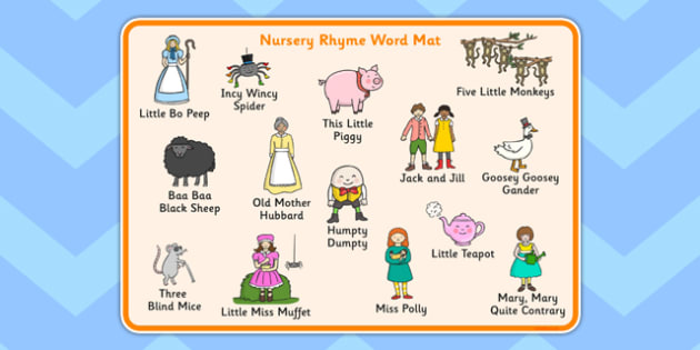 Nursery Rhyme Word Mat - nursery rhyme, word mat, word, mat