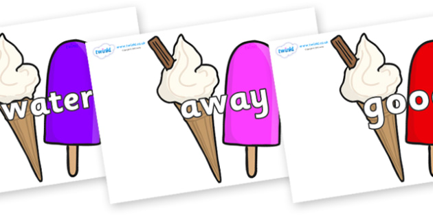 Next 200 Common Words on Ice Cream and Lollies - Next 200 Common Words on  - DfES Letters and Sounds, Letters and Sounds, Letters and sounds words, Common words, 200 common words