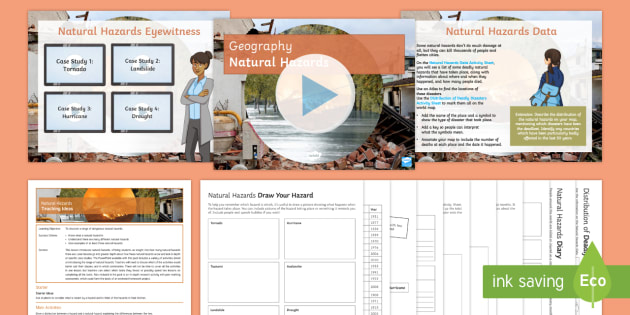 Natural Hazards Lesson Pack - Natural Hazards, tornado, hurricane, avalanche, drought, disaster, earthquake, volcano, flood, tsuna