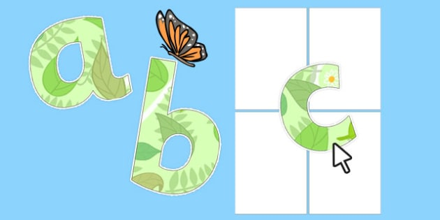 Editable Garden Themed Display Alphabet Numbers and Symbols