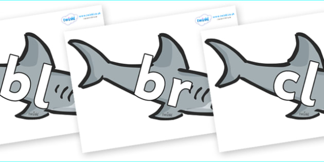 Initial Letter Blends on Sharks - Initial Letters, initial letter, letter blend, letter blends, consonant, consonants, digraph, trigraph, literacy, alphabet, letters, foundation stage literacy