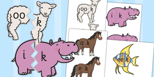 Vowel and Final 'K' Animal Jigsaws - vowel, final k, animal