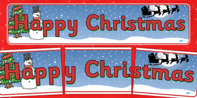 Christmas Display Banner (Happy Christmas) - Christmas, xmas, display banner, Happy Christmas, tree, advent, nativity, santa, father christmas, Jesus, tree, stocking, present, activity, cracker, angel, snowman, advent , bauble