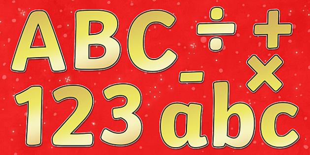 Christmas Display Lettering (Gold) - Christmas, xmas, Display lettering, display letters, alphabet display, letters to cut out, letters for displays, coloured letters, coloured display, coloured alphabet, tree, advent, nativity, santa, father christm