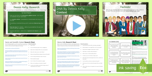 DNA: Context Lesson Pack - DNA, Dennis Kelly, chimps, bonobos, mob mentality, criminality, nature v nurture.