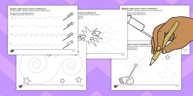Bonfire Night Pencil Control Sheet Polish Translation - polish, bonfire night, pencil control