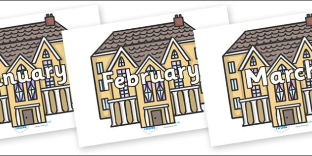 Months of the Year on Houses - Months of the Year, Months poster, Months display, display, poster, frieze, Months, month, January, February, March, April, May, June, July, August, September