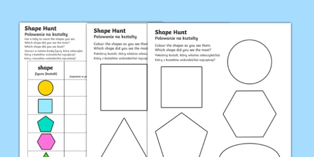 * NEW * Shape Hunt Activity Sheet English/Polish