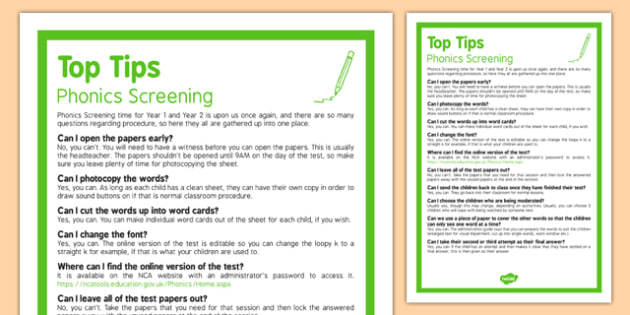 Phonics Screening  Top Tips