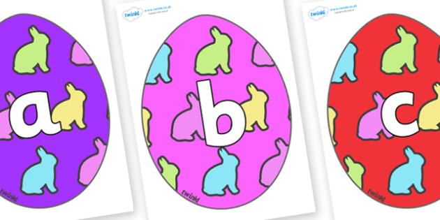 Phoneme Set on Easter Eggs (Rabbit) - Phoneme set, phonemes, phoneme, Letters and Sounds, DfES, display, Phase 1, Phase 2, Phase 3, Phase 5, Foundation, Literacy